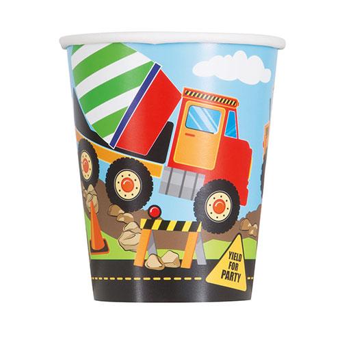 Vasos De Papel Para Fiestas De Construcción 270Ml - Paquete De 8