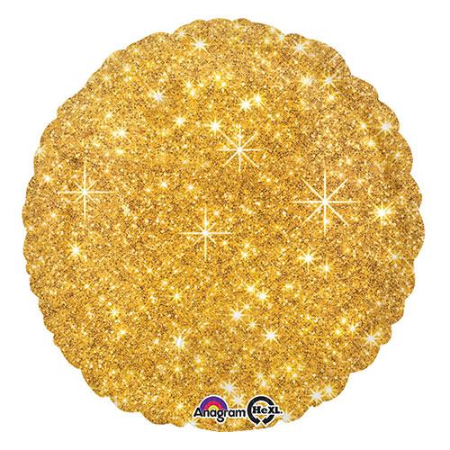 Globo de Helio de Lámina Redonda Dorada Brillante de Imitación 43cm / 17 in