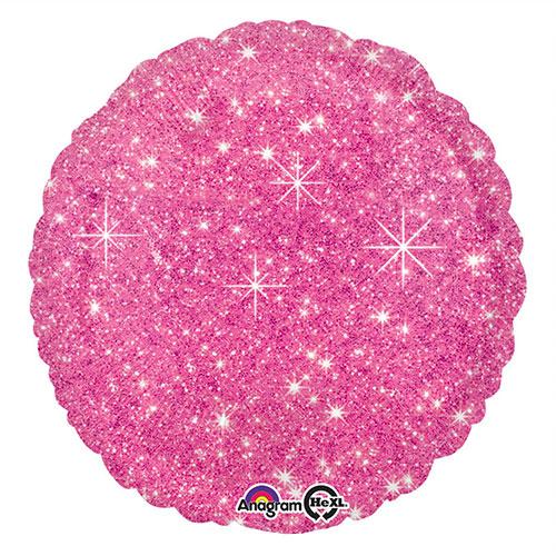 Faux Sparkle Globo De Helio De Aluminio Redondo Rosa Fuerte 43Cm / 17 In