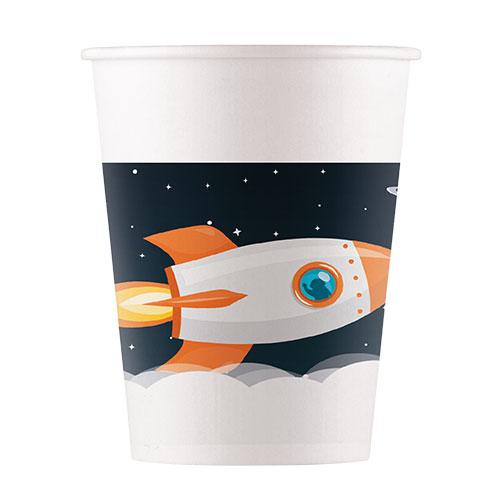 Vasos De Papel Del Tema Del Espacio Exterior 200 Ml - Paquete De 8