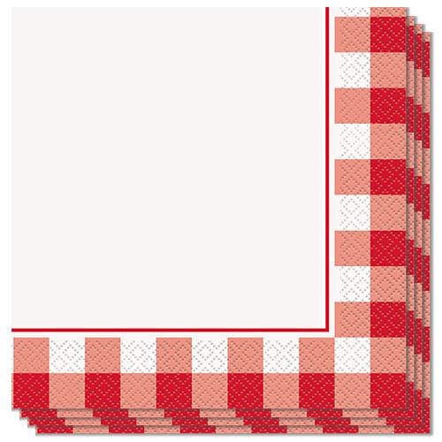 Servilletas De Almuerzo De Cuadros Rojos 33Cm 2Ply - Paquete De 16