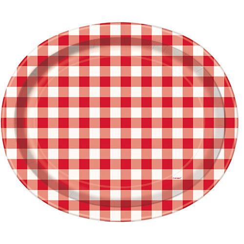 Platos De Papel Ovales Cuadros Rojos 30Cm - Paquete De 8