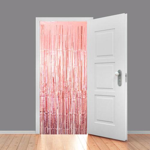 Cortina Metalizada Rosa Dorado Brillante 92 X 244 Cm - Paquete De 10