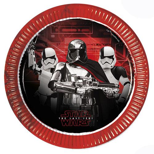 Star Wars El Último Jedi Platos De Papel Metálicos Redondos 23Cm - Paquete De 8