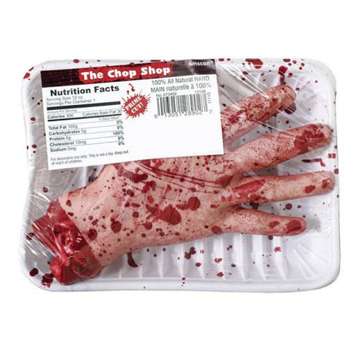 The Chop Shop Plástico Sangriento Mano Halloween Prop Decoración 19Cm
