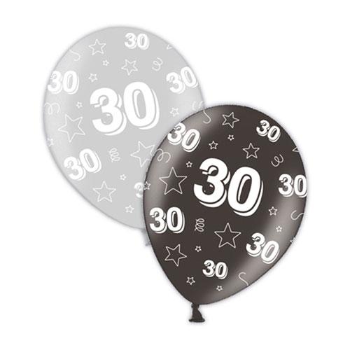 30 Cumpleaños Globos De Látex Plateados Y Negros 28 Cm / 11 Pulgadas - Paquete De 25