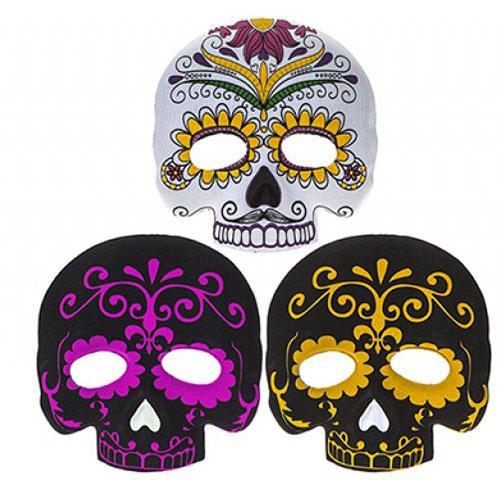Máscara De Fieltro Moldeada De Media Cara Del Día De Los Muertos De Halloween