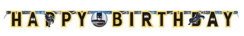 Banner De Letras Articuladas De Cartón De Feliz Cumpleaños De Batman 175Cm