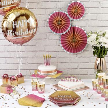 Cumpleaños de Oro Rosa Ombre