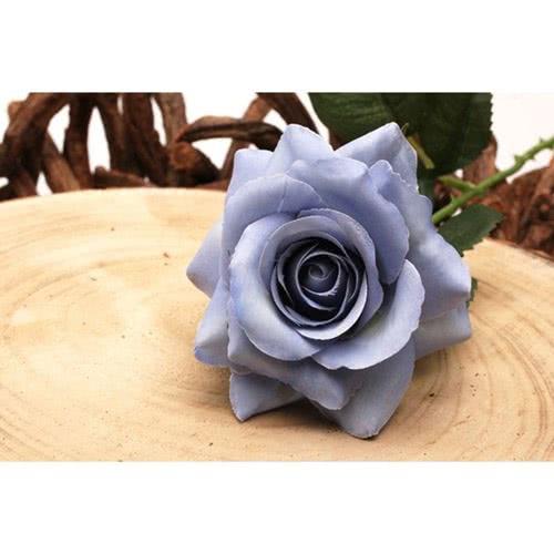 Rosa Azul Flor De Seda Artificial 42Cm