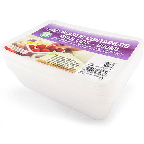 Recipientes Para Alimentos Rectangulares De Plástico Transparente Con Tapa 650Ml - Paquete De 5