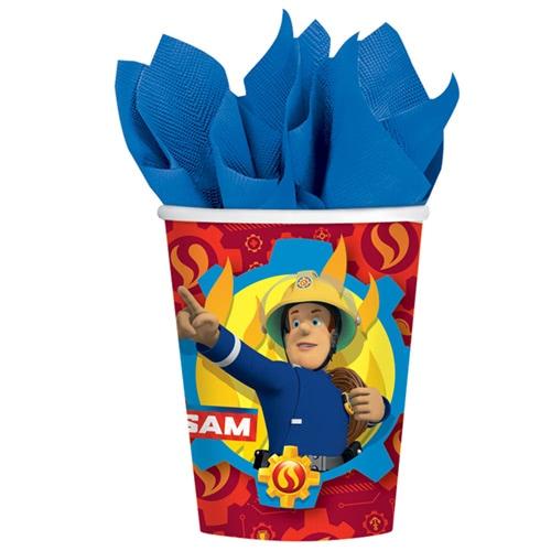 Vasos De Papel Sam El Bombero 266Ml - Paquete De 8