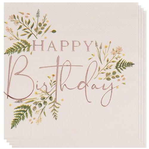 Servilletas De Almuerzo De Feliz Cumpleaños Con Estampado De Oro Rosa Floral 33Cm 2 Capas - Paquete De 16