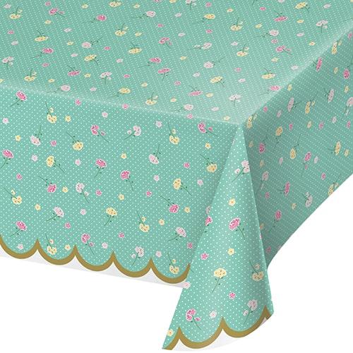 Mantel De Plástico Floral Tea Party 259Cm X 137Cm
