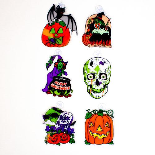 Decoraciones De Ventana De Pegatinas Surtidas De Halloween - Paquete De 6