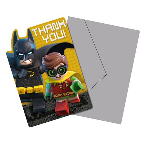 Lego Batman Tarjetas De Agradecimiento Con Sobres - Paquete De 8