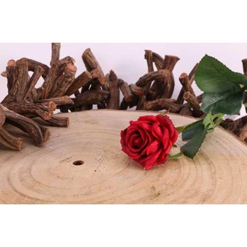 Diamante Rojo Rosa Flor De Seda Artificial 40Cm
