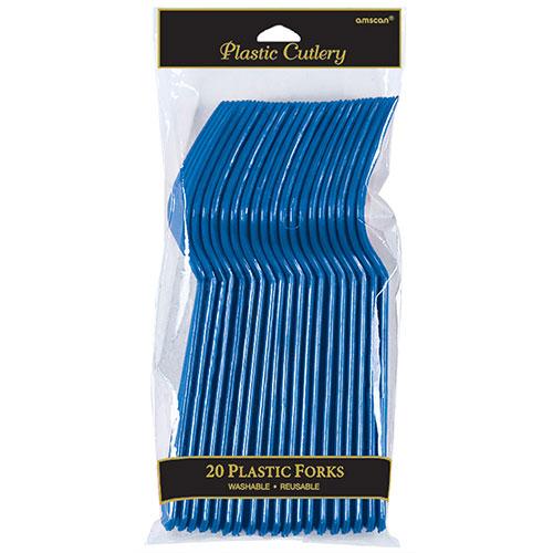 Tenedores De Plástico Azul Royal - Paquete De 20