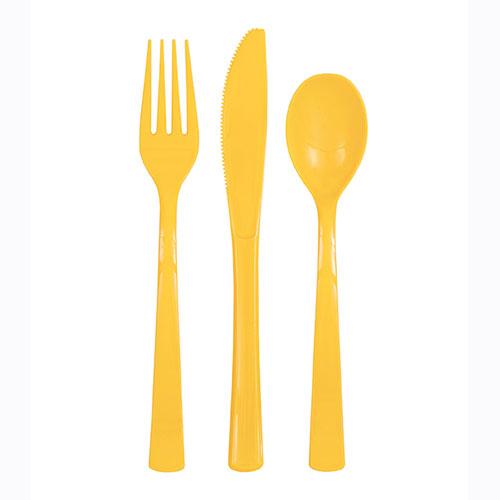 Juego De Cubiertos Surtidos De Plástico Amarillo Girasol - Paquete De 18