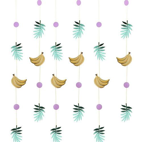 Decoraciones De Cadena De Hoja De Plátano Y Hoja De Oro Tropical - Paquete De 6