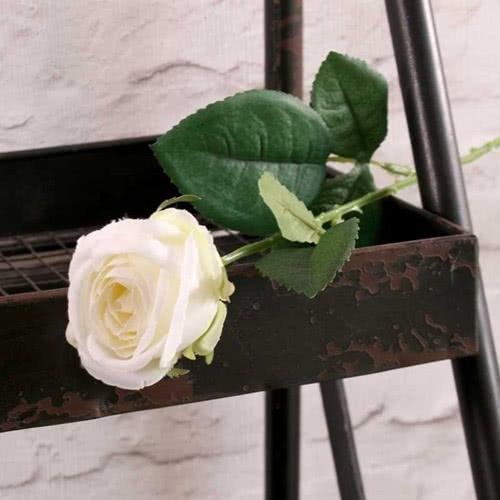 Flor De Seda Artificial Rosa Blanca De Buckingham 40Cm
