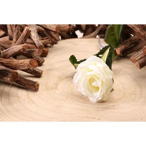 Diamante Blanco Rosa Flor De Seda Artificial 40Cm