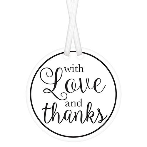 Blanco Con Etiquetas De Amor Y Agradecimiento Con Lazos Retorcidos - Paquete De 25