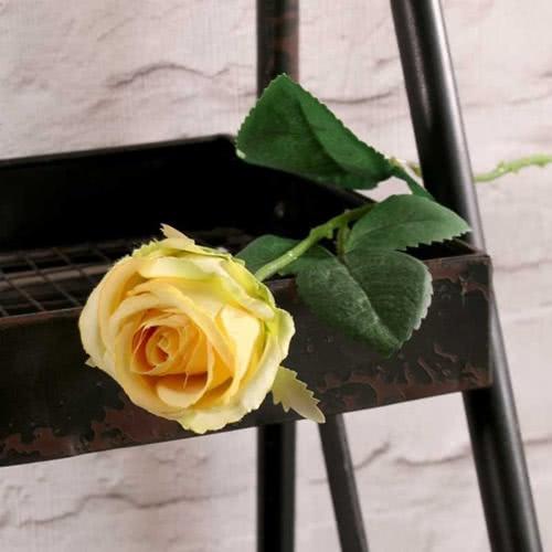 Flor De Seda Artificial Rosa Buckingham Amarilla 40Cm