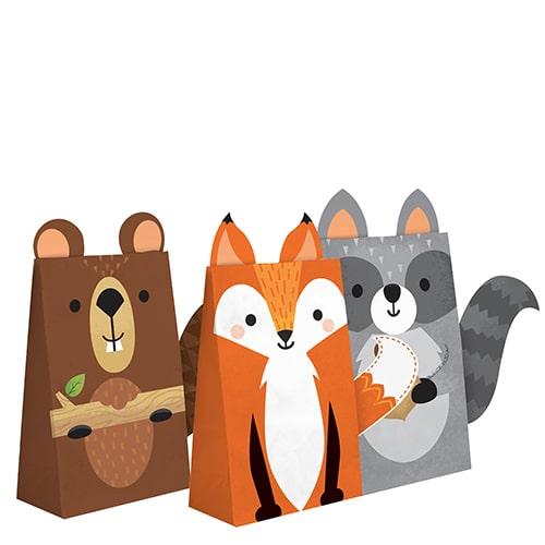 Bolsas De Papel Con Animales Del Bosque Surtidos - Paquete De 8