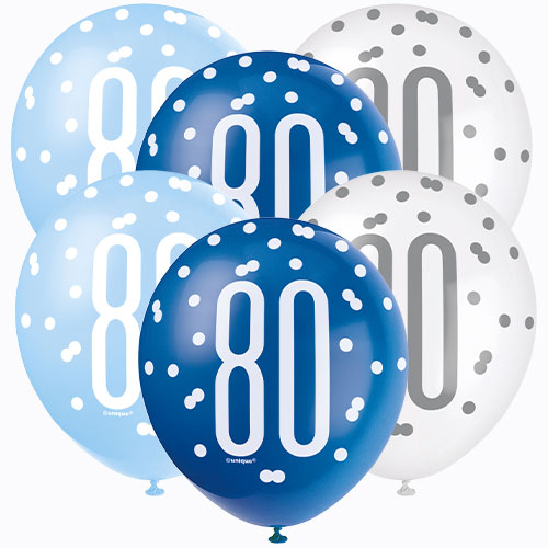 Azul Brillo 80 Edad Surtido Globos De Látex Biodegradables 30Cm / 12 En - Paquete De 6