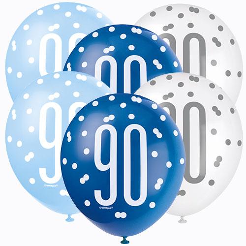 Azul Brillo 90 Edad Surtido Globos De Látex Biodegradables 30Cm / 12 En - Paquete De 6