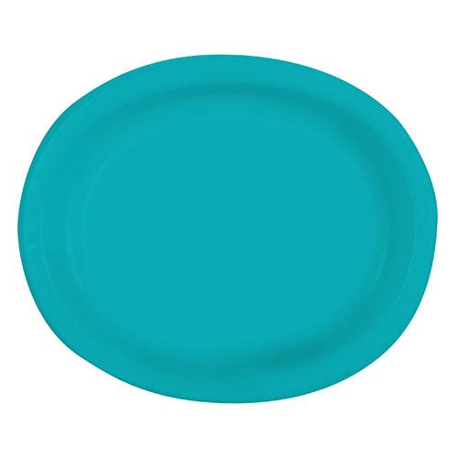 Platos De Papel Ovalados Caribeños Verde Azulado 30Cm - Paquete De 8