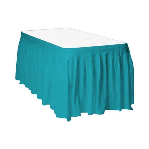 Falda De Mesa De Plástico Verde Azulado Caribeño 426Cm X 74Cm