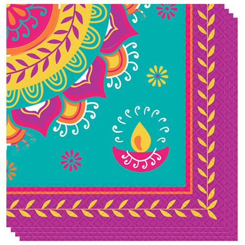Servilletas De Comida Diwali 33Cm 2 Capas - Paquete De 16