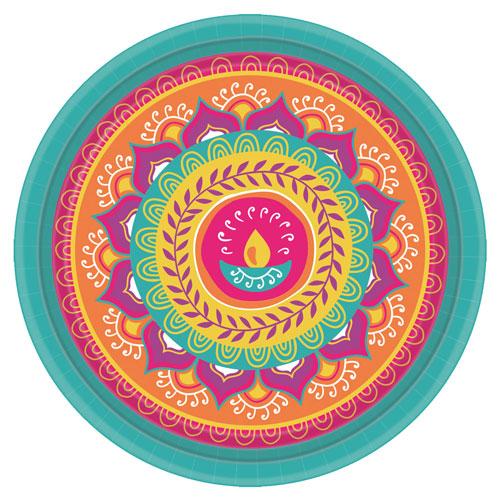 Platos Redondos De Papel Diwali 27Cm - Paquete De 8