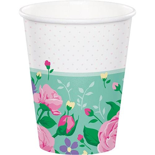 Vasos De Papel Floral Tea Party 266Ml - Paquete De 8
