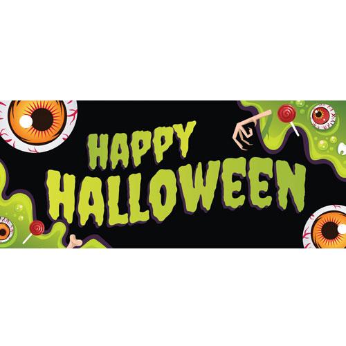 Verde Feliz Halloween Globos Oculares Pvc Fiesta Letrero Decoración 60 Cm X 25 Cm