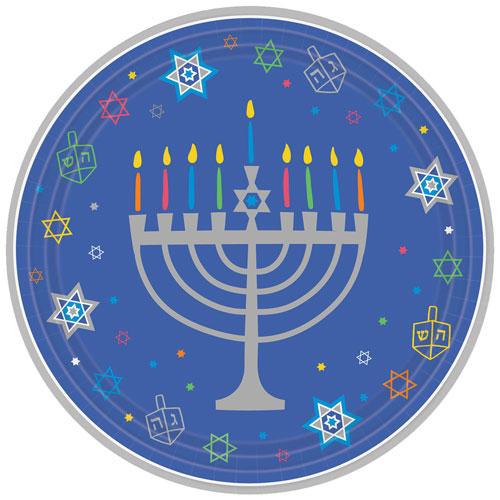 Platos De Papel Redondos De Hanukkah 27Cm - Paquete De 18