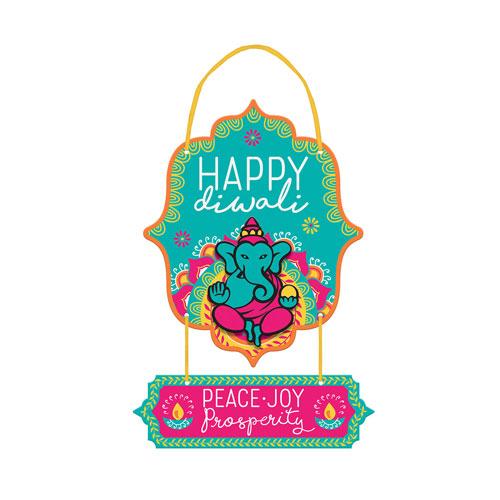 Cartel Colgante De Mdf Happy Diwali 33Cm