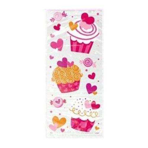 Bolsas De Regalo De Cello Con Cupcakes De Corazón Con Lazos Retorcidos - Paquete De 20