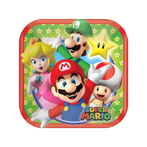 Platos De Papel Cuadrados De Super Mario 18Cm - Paquete De 8