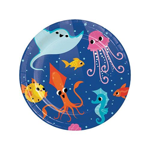 Platos De Papel Redondos De Celebración Del Océano 17Cm - Paquete De 8