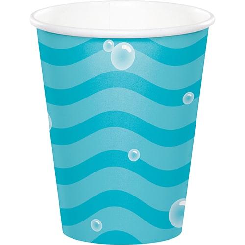 Vasos De Papel Con Burbujas De Mar De Celebración Del Océano 266Ml - Paquete De 8