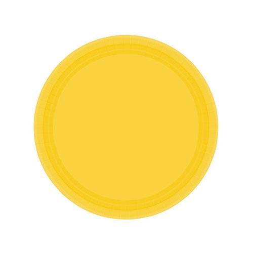 Platos De Papel Amarillo Sol 18Cm - Paquete De 20