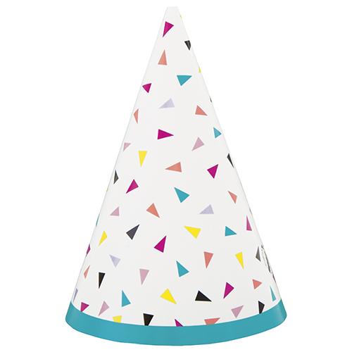 Mini Sombreros De Cono De Fiesta Triangulares De Confeti - Paquete De 8