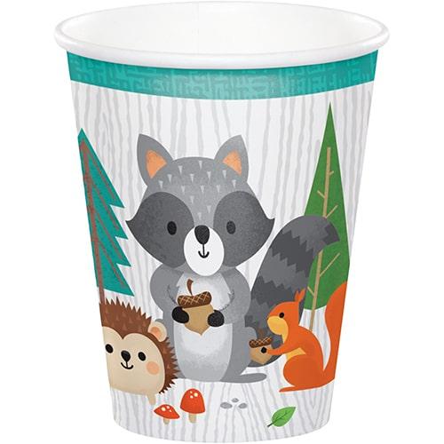 Vasos De Papel De Animales Del Bosque 266Ml - Paquete De 8