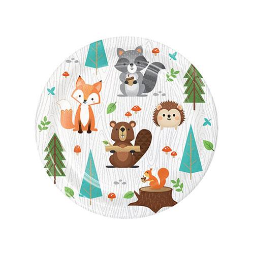 Platos De Papel Redondos Animales Del Bosque 17Cm - Paquete De 8