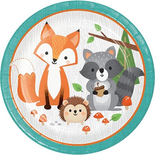 Platos De Papel Redondos Animales Del Bosque 22Cm - Paquete De 8