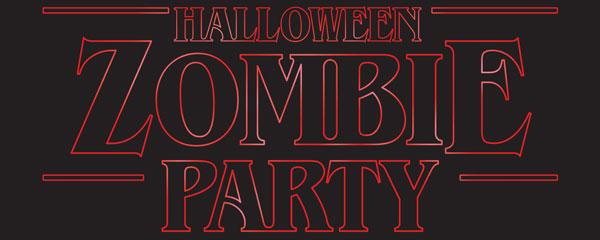 Fiesta De Zombies Halloween Cosa Extraña Pvc Fiesta Letrero Decoración 60 Cm X 25 Cm