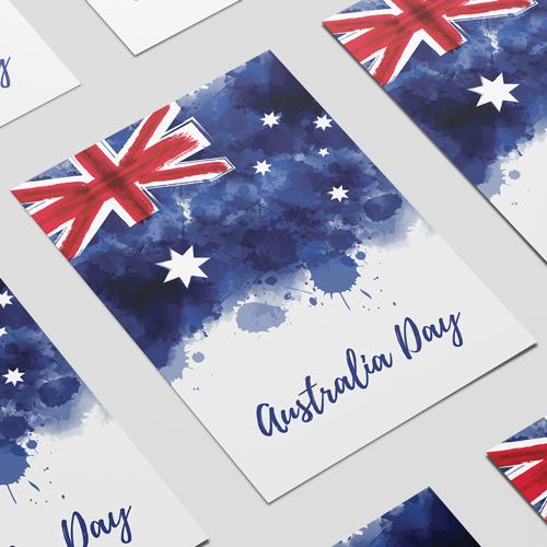 Día De Australia Acuarela Cartel A2 Signo De Parte De La Decoración De Pvc 59Cm X 42Cm